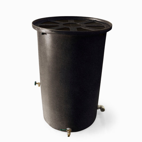 Agua Fria | Black | 55 Gallon Vertical | Canale Flat Top (Pie Shaped) - Tijeras Rain Barrels