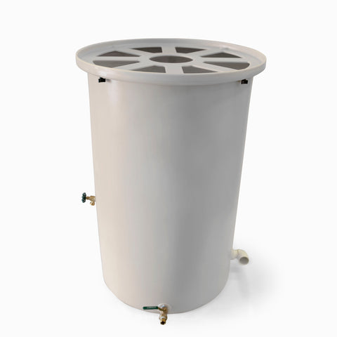 Agua Fria | White | 200 Gallon Vertical | Canale Flat Top (Pie Shaped) - Tijeras Rain Barrels