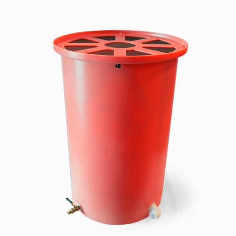 Agua Fria | Bright Red | 200 Gallon Vertical | Canale Flat Top (Pie Shaped) - Tijeras Rain Barrels