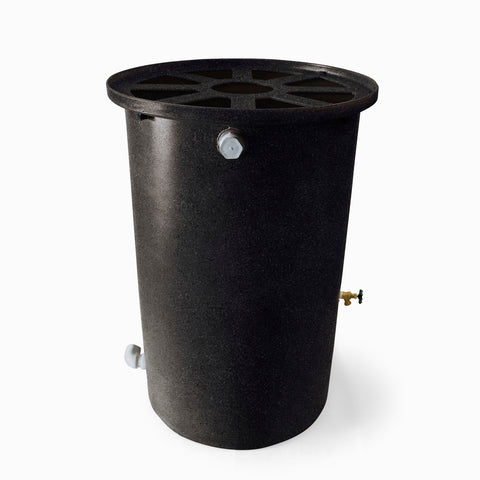 Agua Fria | Black With Speckle | 55 Gallon Vertical | Canale Flat Top (Pie Shaped) - Tijeras Rain Barrels