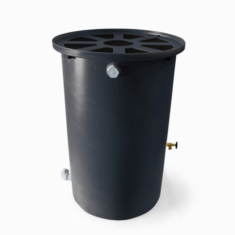 Agua Fria | Dark Grey | 55 Gallon Vertical | Canale Flat Top (Pie Shaped) - Tijeras Rain Barrels