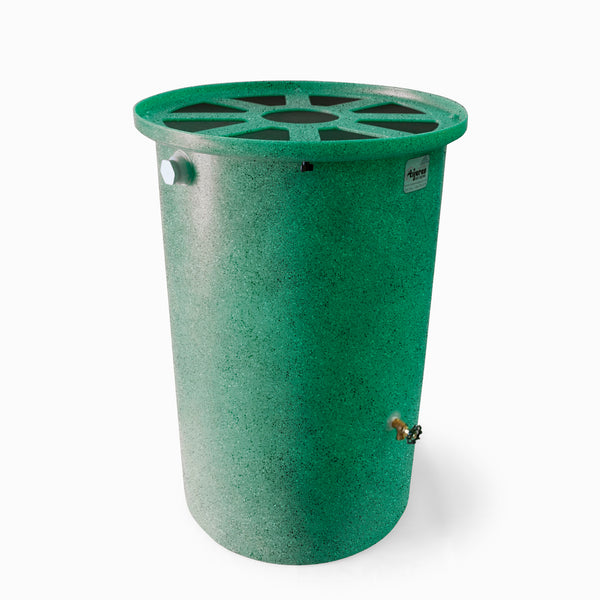 Agua Fria | Bright Green With Speckle | 200 Gallon Vertical | Canale Flat Top (Pie Shaped) - Tijeras Rain Barrels