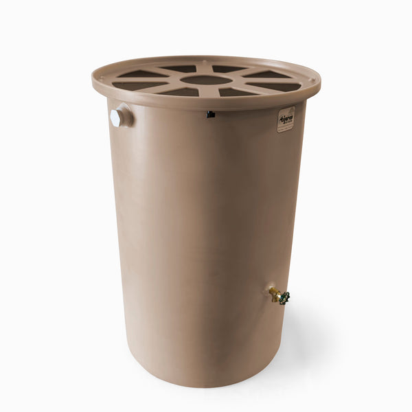 Agua Fria | Light Adobe | 55 Gallon Vertical | Canale Flat Top (Pie Shaped) - Tijeras Rain Barrels