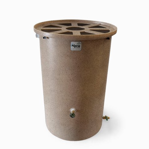 Agua Fria | Latte With Speckle | 55 Gallon Vertical | Canale Flat Top (Pie Shaped) - Tijeras Rain Barrels