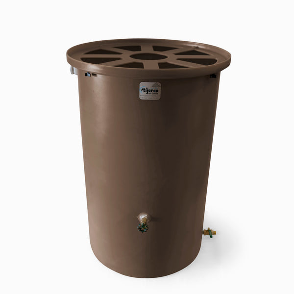 Agua Fria | Dark Adobe | 55 Gallon Vertical | Canale Flat Top (Pie Shaped) - Tijeras Rain Barrels