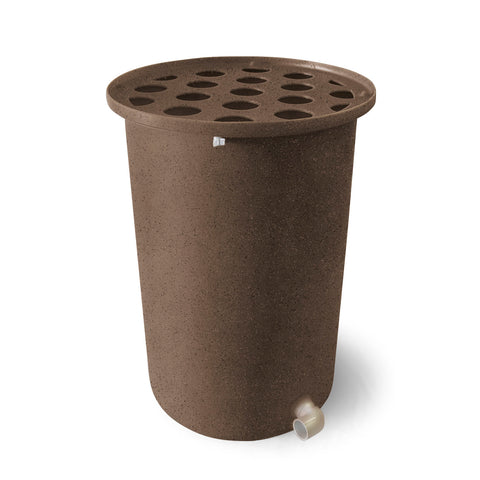 Cubo | Dark Adobe with Speckle | 55 Gallon Vertical  | Polka Dot Top - Tijeras Rain Barrels
