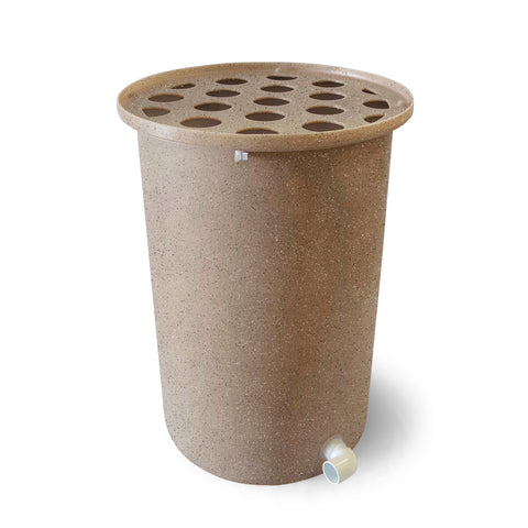 Cubo | Latte with Speckle | 200 Gallon Vertical | Polka Dot Top - Tijeras Rain Barrels