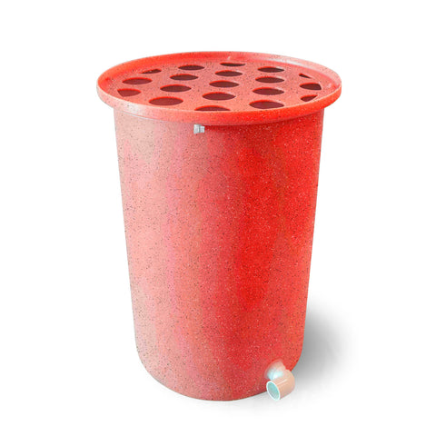 Cubo | Bright Red with Speckle | 55 Gallon Vertical  | Polka Dot Top - Tijeras Rain Barrels