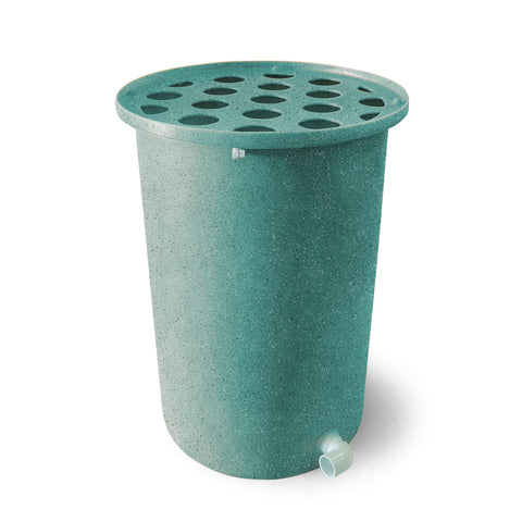 Cubo | Turquoise with Speckle | 100 Gallon Vertical | Polka Dot Top - Tijeras Rain Barrels