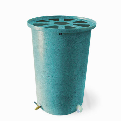 Agua Fria | Turquoise With Speckle | 200 Gallon Vertical | Canale Flat Top (Pie Shaped) - Tijeras Rain Barrels