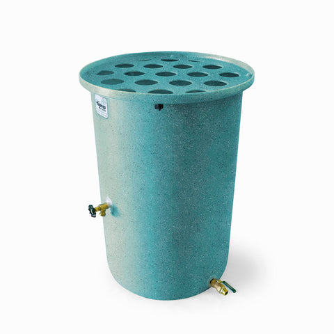 Agua Fria | Turquoise With Speckle | 100 Gallon Vertical | Canale Flat Top (Polka Dot) - Tijeras Rain Barrels