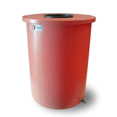 Villa | Tijeras Rain Barrel | Bright Red | 55 Gallon Vertical