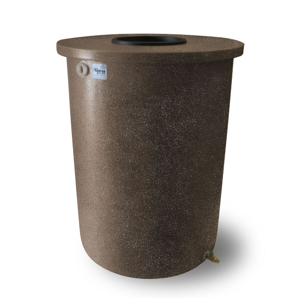 Villa | Tijeras Rain Barrel | Dark Adobe with Speckle | 55 Gallon Vertical