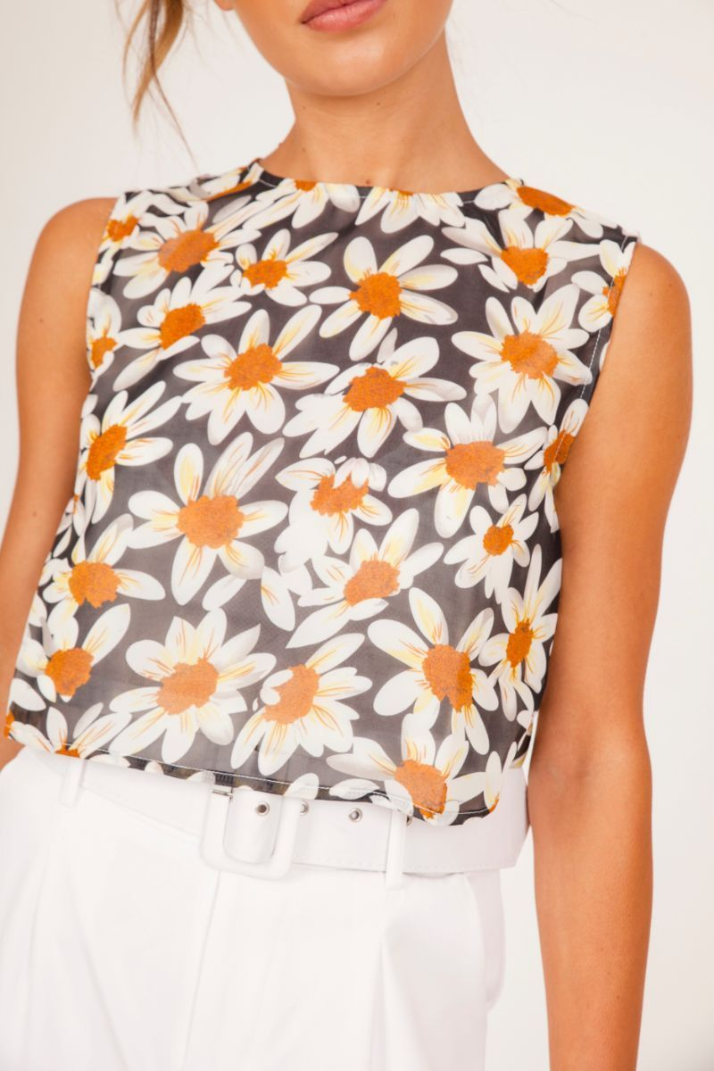 Orange Daisy Print Crop Top