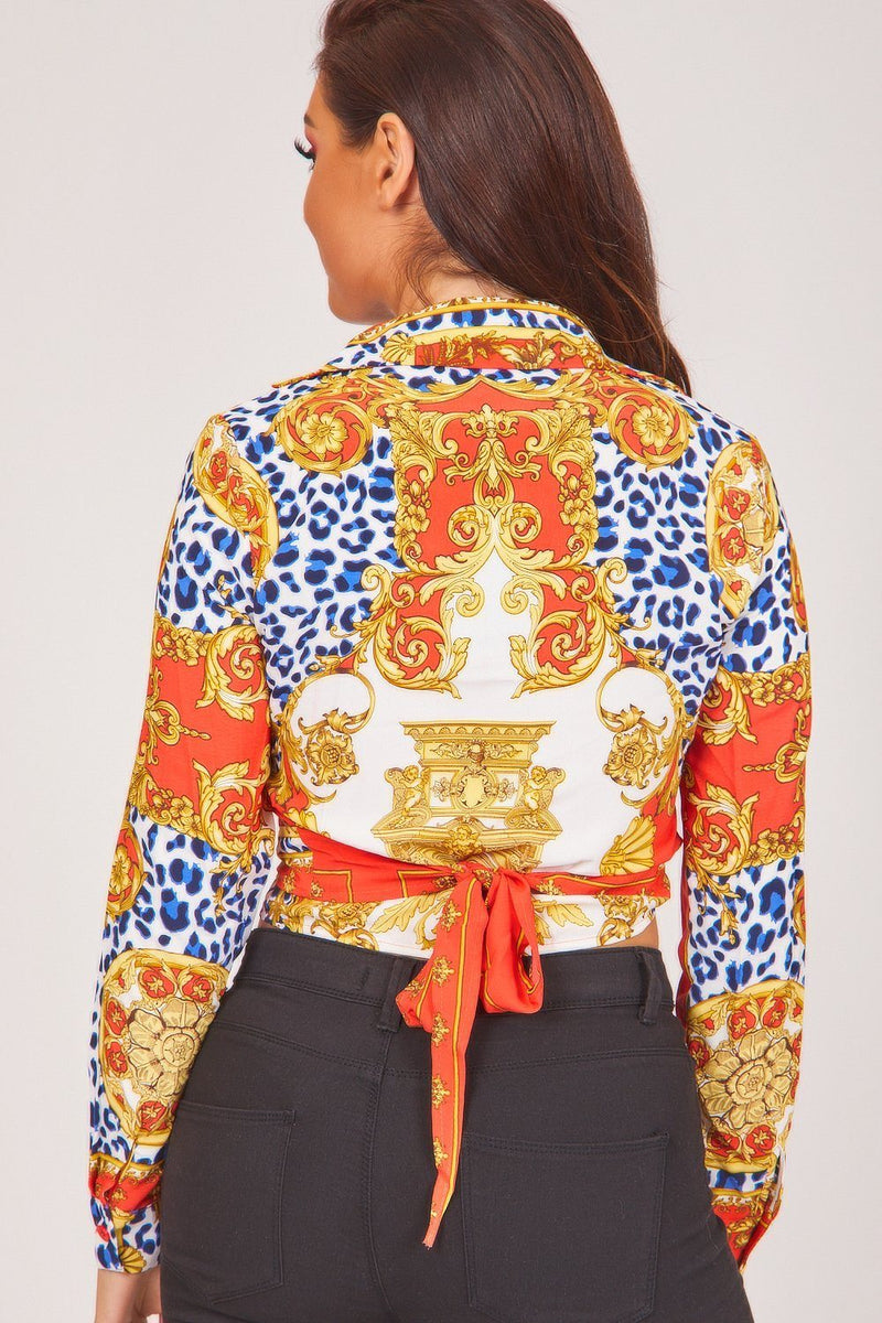 Red Baroque Print Wrap Front Crop Top