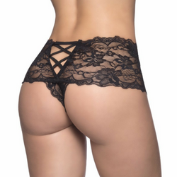 Plus Size Sexy Crotchless Lace Boyshort Panty