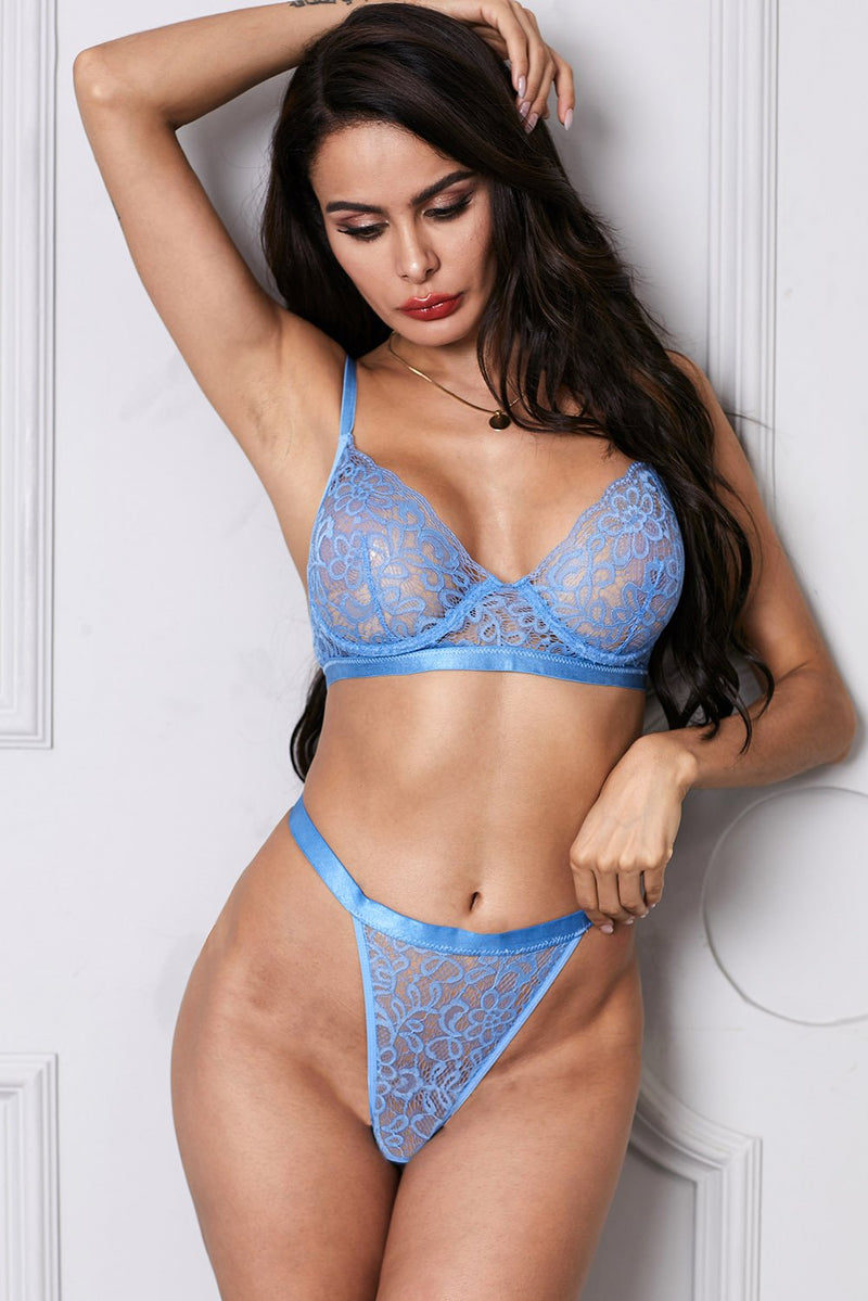 Sky Blue Romantic Night Lace Lingerie Bralette Set