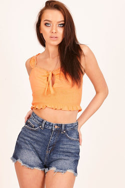 Orange Shirred Lace Crop Top