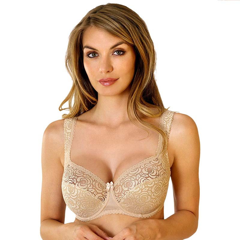 Half Padded Semi Sheer Lace Bra