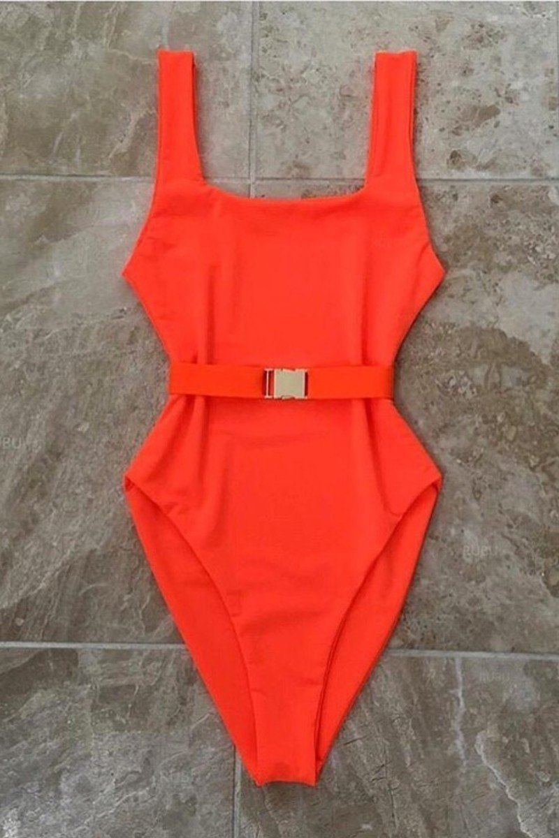 One Piece Belted Swimsuit