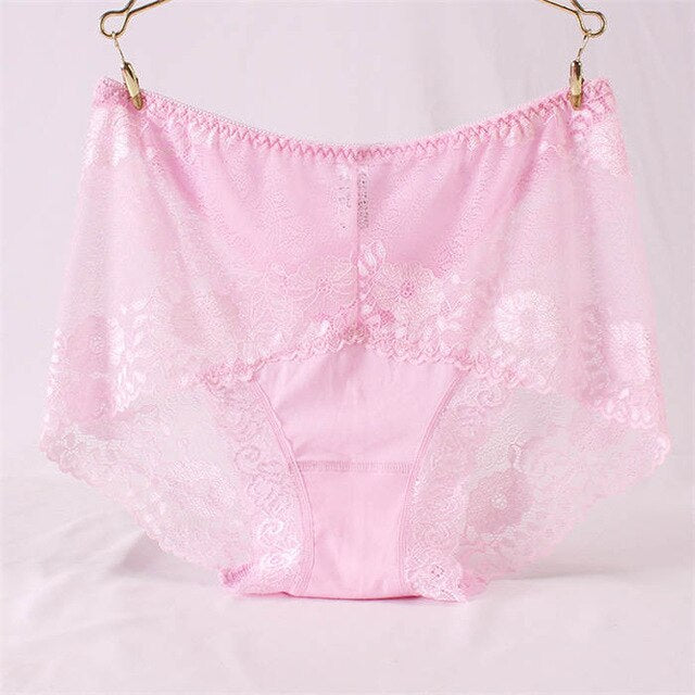 Sexy High waist Cotton Mesh Lace Panties