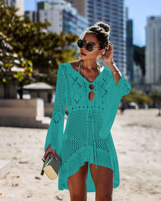 White Knitted Crotchet Beach Cover Up