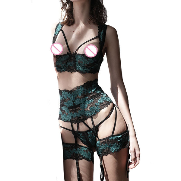 Sexy Ultra-Thin Half Cup Bra and Panty Lingerie Set