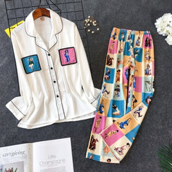 Women's Colorful Silk Shirt and Pant Pajama Set