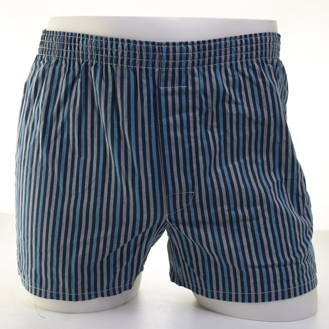 Men Breathable Cotton Plaid Boxer Shorts