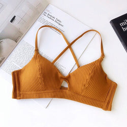 Cotton Wire Free Bra triangle cup sexy set