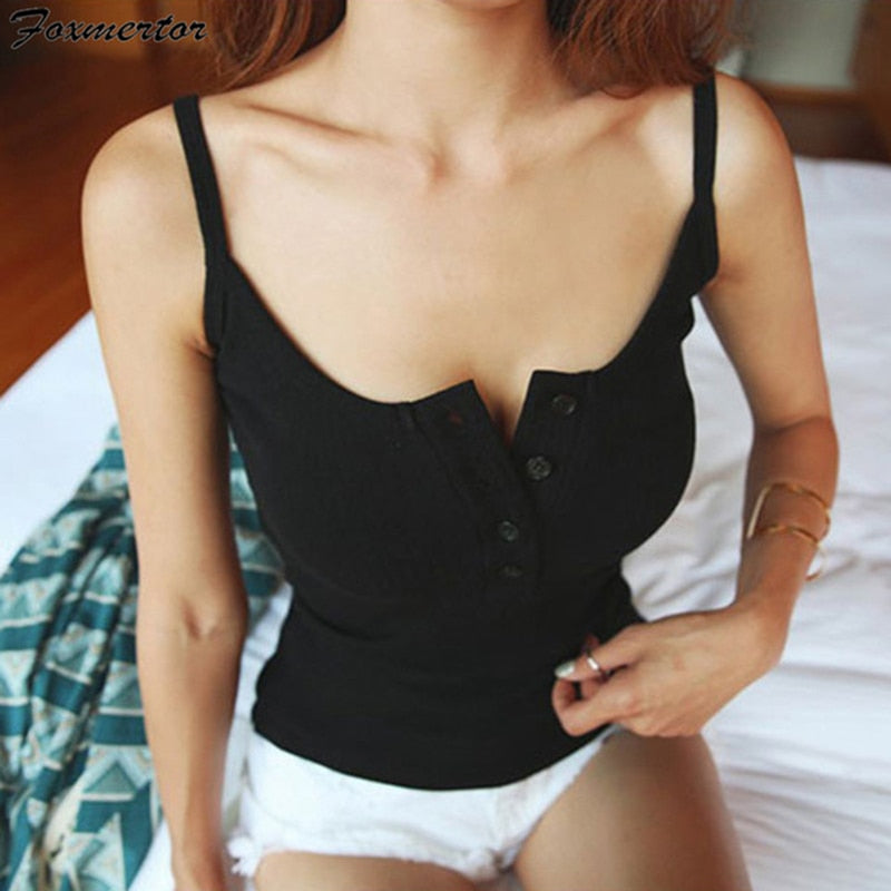 Sexy Women Solid Strappy Crop Top