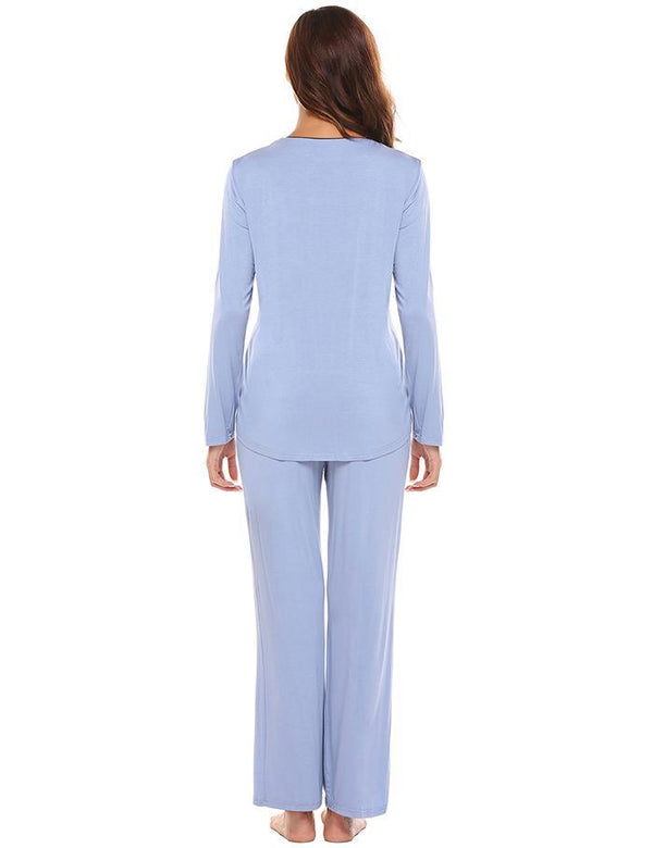 Ladies Long Sleeve Button Shirt Long Pants Two Piece Pajama Set r