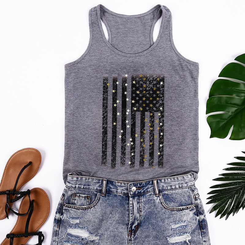 New Women O-Neck USA Flag Print Summer Tops