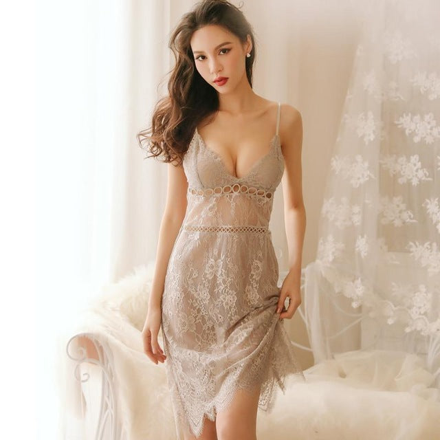 Sexy Sling Lace V-Neck Night Dress