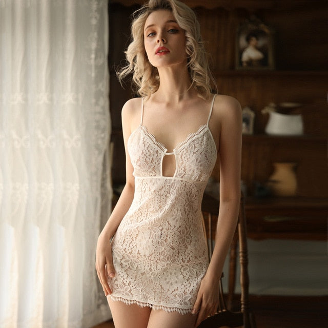 Black White Wedding Lace V-Neck Suspender Night Dress