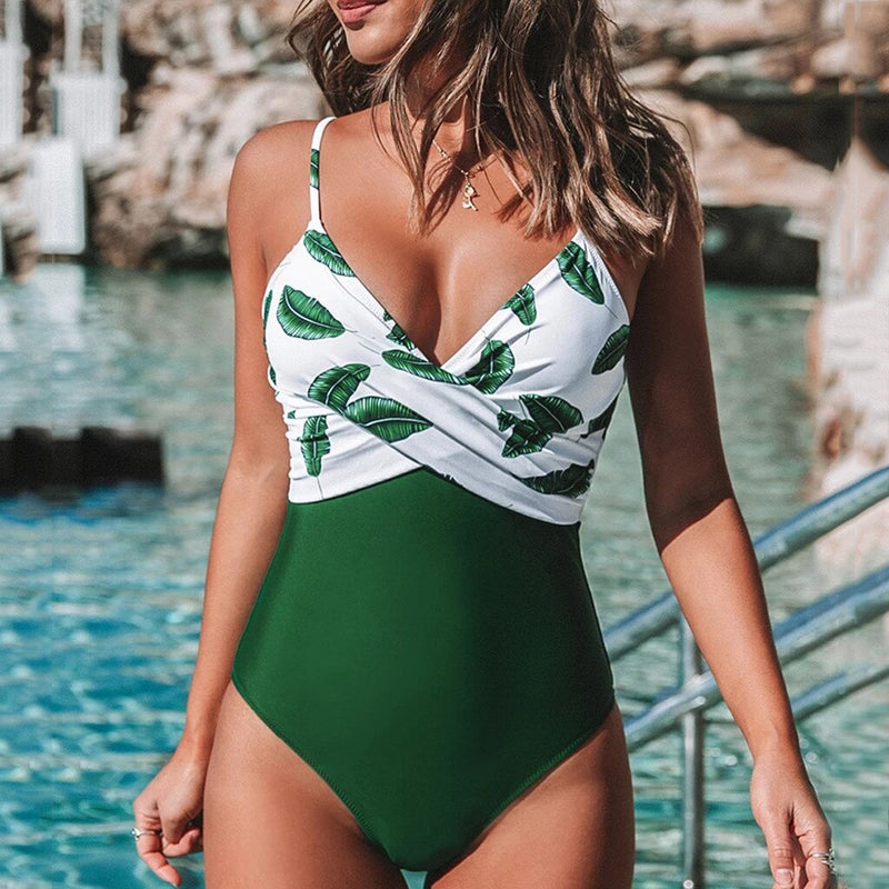 Women Green Flora Print One Piece Swimsuit