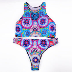 New Circle Printed Bandage Bikini Set