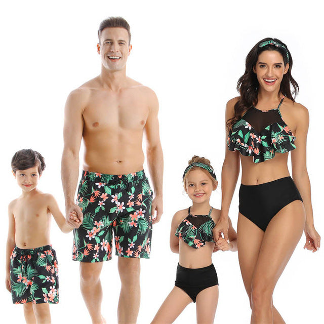 Trendy Vacation Family Matching Swimsuits