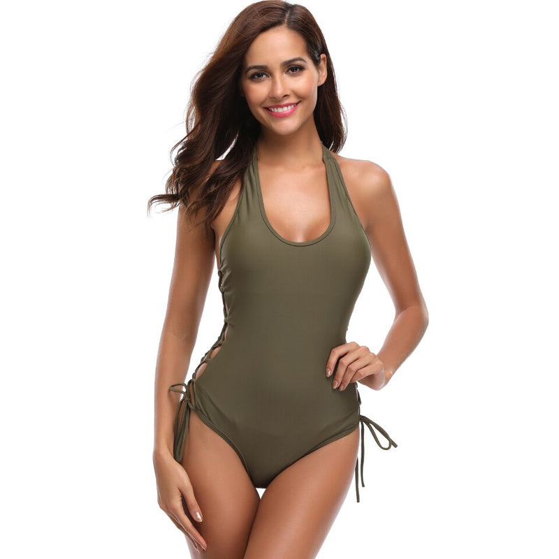 Women Lace Up One Piece Bathing Suit
