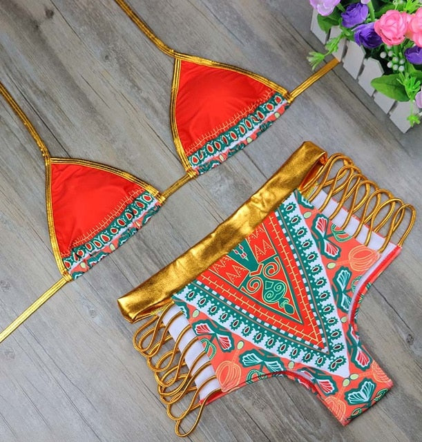 Brand New African Print Two-Piece Bikini Set