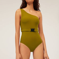 Classy One Shoulder Belted One-Piece Swimsuit