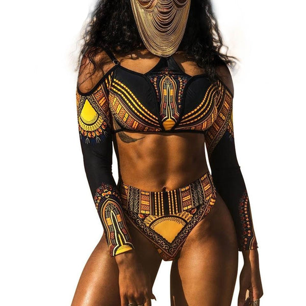 African Tribal Print Cut Out Beach Swimwear