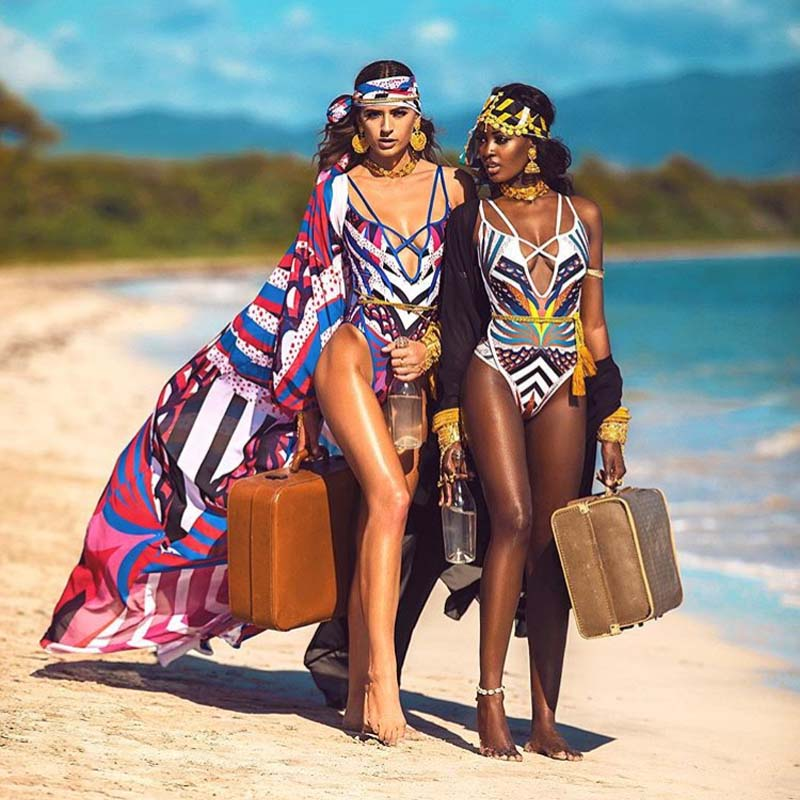 Trendy African Style Monokini Print One Piece Swimsuit