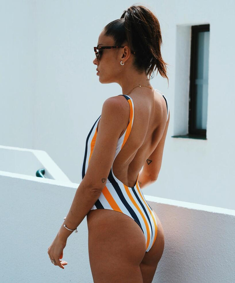 Brand New Striped Backless Monokini One Piece Swimsuit