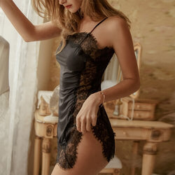 Sexy Side Split Lace Hollowed Out Black Suspender Nightdress