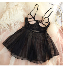 Sexy Tulle Lace Gauze V-Neck Sleeping Dress
