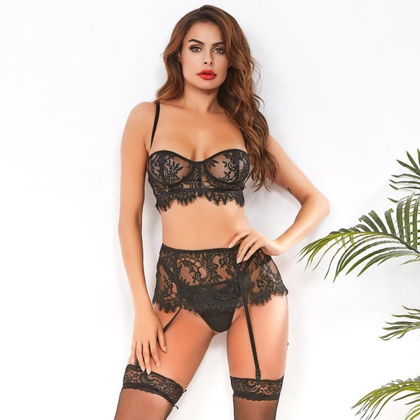 Women Roleplay Lace Bra and Panty Set