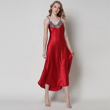 Women Silk Satin Long Nightgown
