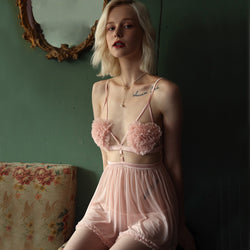 Sexy Thin Suspender Strap Night Dress With Panty