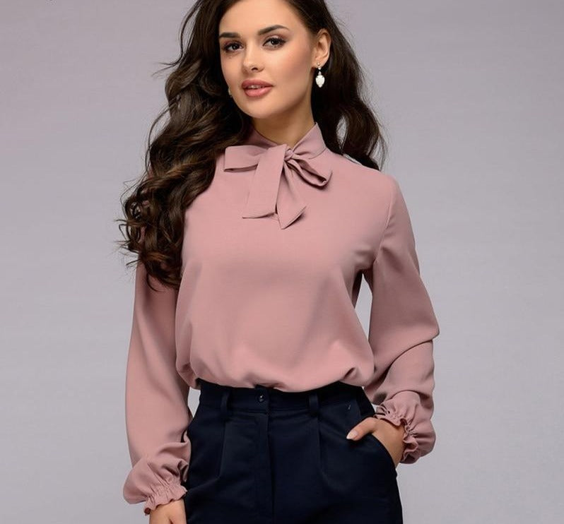 Women Bow Tie Long Sleeve Chiffon Shirts